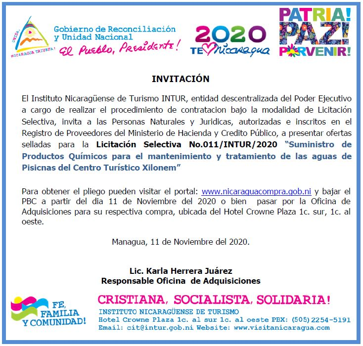 Licitación Selectiva No.011/INTUR/2020
