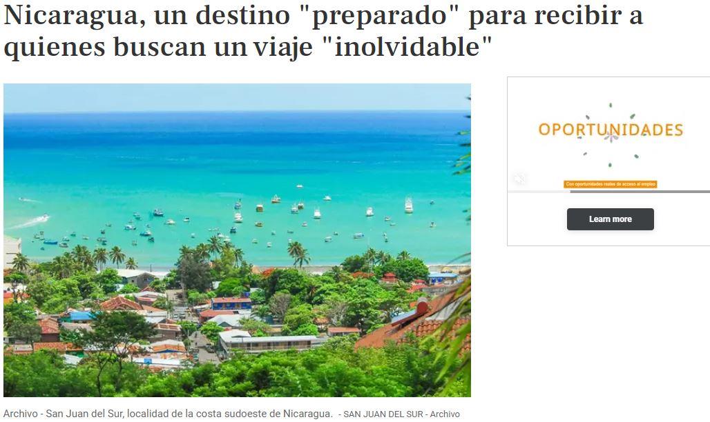 nicaragua destino para recibir turistas