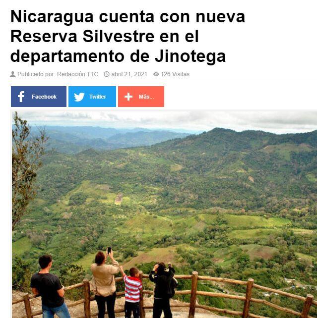 Nicaragua cuenta con nueva Reserva Silvestre+
