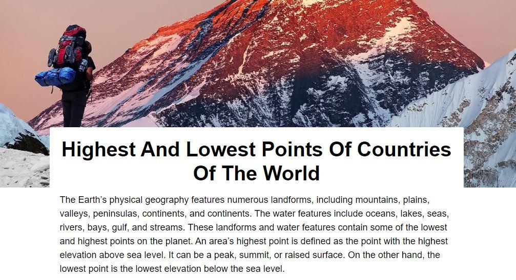 puntos mas bajos y altos del mundo